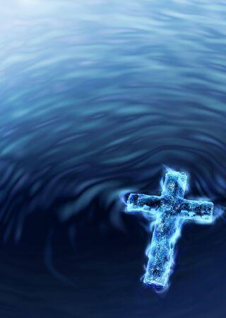 espiritu santo: Agua bendita Cruz - met�fora religiosa Foto de archivo