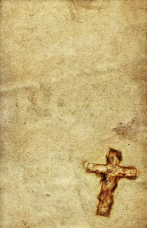 Vintage Holy Cross against grunge paper background Stock Photo