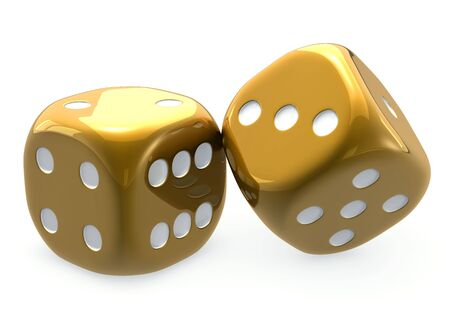 Two golden dice for  backgammon, large on isolated, white background Stock Photo