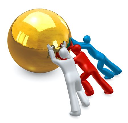 teamwork cartoon: Cartoon people working together to achieve desired effect. Business   workgroup metaphor  Stock Photo
