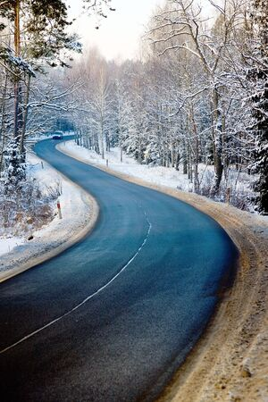 winter road: Road in  forest in winter and distant car Stock Photo