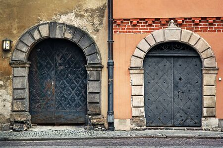 tenement: Tenement Door in Warsaw old town part, Poland Stock Photo