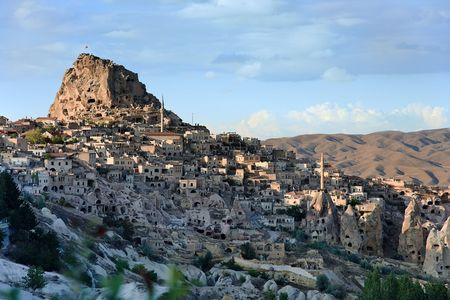 Old town Uchisar, it's Citadel and houses. Goreme / Turkey
