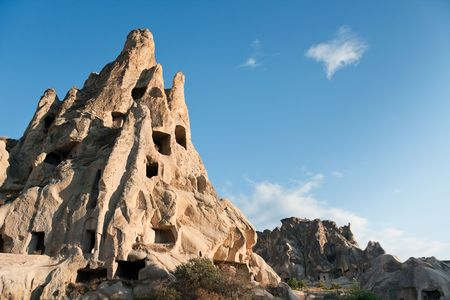 Ancient Christian churches cut in rock, Goreme region / Turkey Stock Photo
