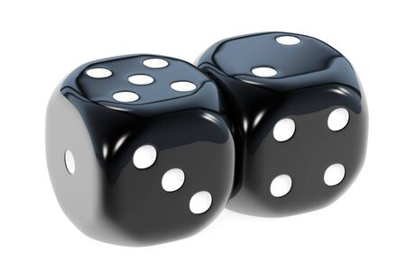 Gamble dice - black pair Stock Photo - 6422712