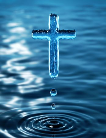 redemption: Holy Cross of water ripple - religious metaphor