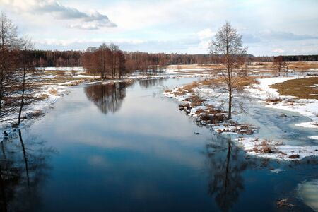 Freezing woody river, Masuria / Poland Stock Photo