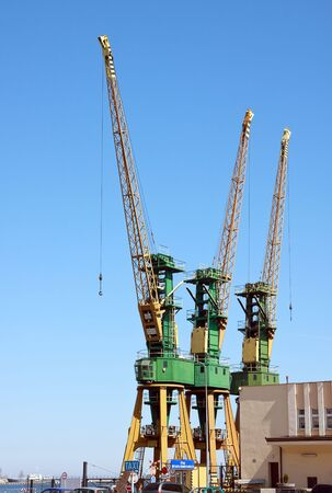 Cranes at docks of Gdynia City port  Poland photo