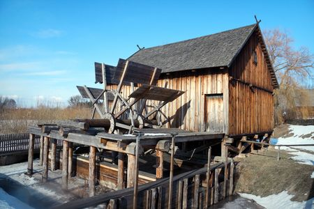 Old wooden  watermill , Nowogrod Heritage Park,  Poland