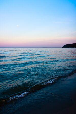 nightfall: Seashore in twilight  Stock Photo