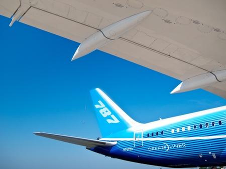 boeing: Coda e l'ala del Boeing Dreamliner al Salon International Aviation & Space MAKS Mosca, 16 agosto 2011, ZHUKOWSKY Russia