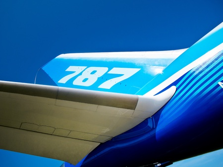 Tail and wing of 787 Boeing Dreamliner at International Aviation & Space Salon in Moscow MAKS, August 16 2011, ZHUKOWSKY Russia