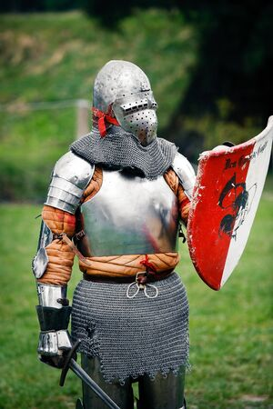 Armored  Knight ready to fight at the Medieval Fair in Uniejow. August 06 2011 Poland