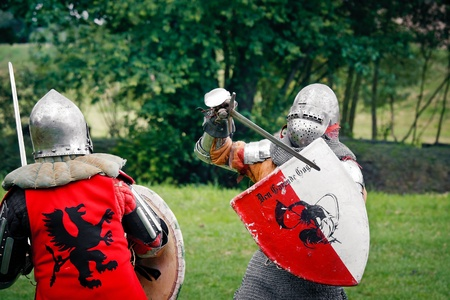 Knights Sword Fight at the Medieval Fair in Uniejow. August 06 2011 Poland