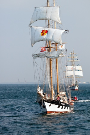 Sailing vessel Brabander on open sea during Culture 2011 Tall Ships Regatta,20 large vessels,dozen of smaller boats,1000 participants.September 05,2011 in Gdynia, Poland Editorial