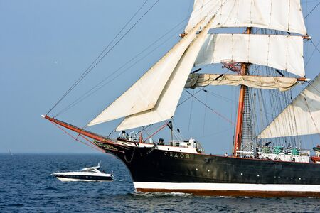 Tall ship Sedov on open sea, at Culture 2011 Tall Ships Regatta,20 large vessels,dozen of smaller boats,1000 participants.September 05,2011 in Gdynia, Poland Editorial