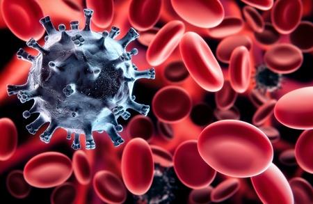 inmunidad: Virus en la sangre de negro - entre los glóbulos rojos Foto de archivo