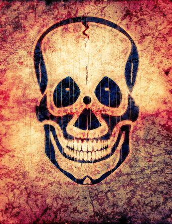 Radioactive skull . An International symbol of radiation - trefoil sign in form of a skull photo