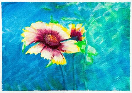 Hand painted watercolor  aquarell  on paper, yellow Zinnia flowers against the  blue background