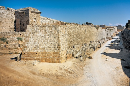 Walls of the moat - Palace of the Grand Master of the Knights of Rhodes Island  Stock Photo