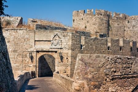 rhodes: Ancient ruins walls of  Rhodes Island  Stock Photo