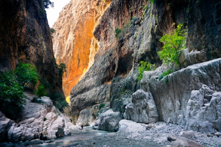 Mountain stream full of smooth rocks in Saklikent Canyon  Stock Photo