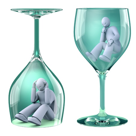 alcoholism: Man in the glass, with the alcoholic problem trapped in the glass Stock Photo