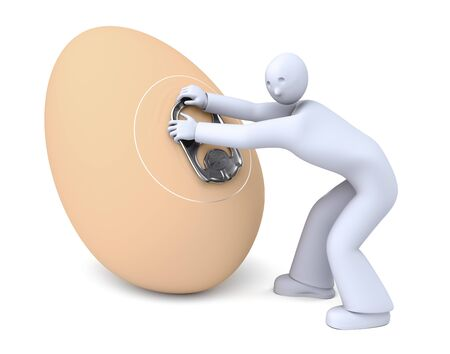 modified: Open egg can, Man trying to open the  chicken egg can, genetically modified surprise, easy open stay-tab Stock Photo