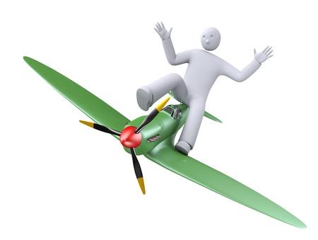 replica: Cartoon airplane flying Stock Photo
