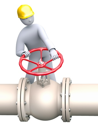 valve: Man working in oil or gas refinery,  turning the  pipeline valve