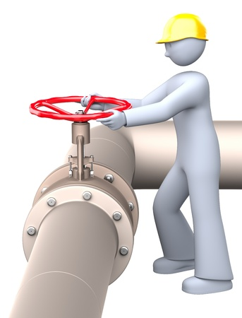 Man turning on and off the red pipeline valve photo