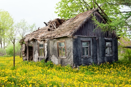 Dilapidated cottage house Stock Photo