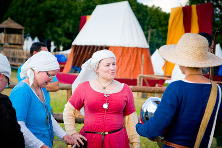 Medieval women meeting at Battle of Grunwald 601th anniversary