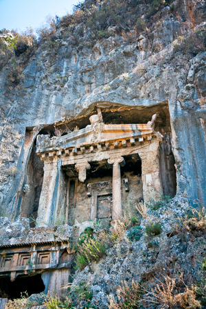 Tombs carved in rock by Lycians, Turkey Stock Photo