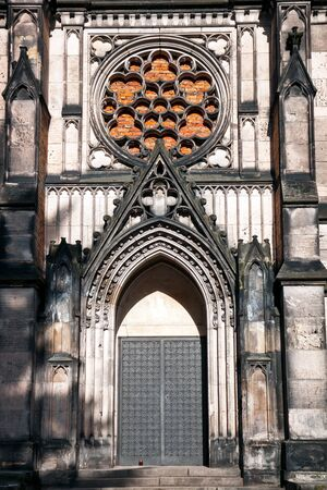 Gothic entrance of Karl Scheibler Chapel in Lodz City Stock Photo
