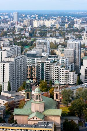 WARSAW View of All Saints Church and capital city of Poland panorama  October 10 2009 Poland Editorial