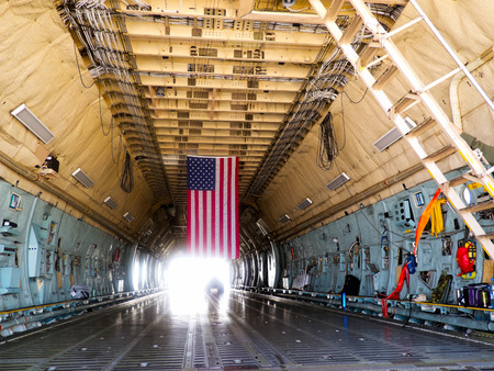 Lockheed C-5 Galaxy, the cargo hold,  International Aviation   Space Salon in Moscow MAKS, August 16 2011, Russia