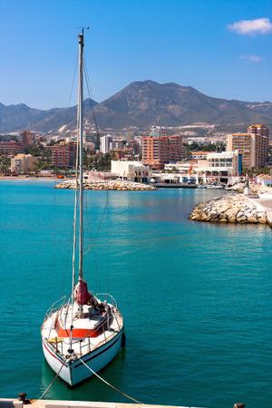 mooring: Sailboat in Benalmadena , Spain Stock Photo