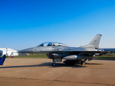 lockheed martin: F-16 Fighting Falcon fighter aircraft, Aviation   Space Salon in Moscow MAKS, August 17 2011, Russia Editorial