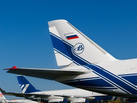 intercontinental: Large tail wings of Russian AN-124-100  jet, Antonov Volga-Dnepr, Moscow MAKS, August 17 2011, Russia