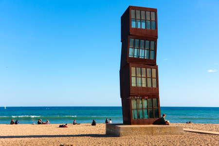 Barcelona beach Platja de Sant Sebastia, sculpture  Tribute to Barceloneta  by Rebecca Horn