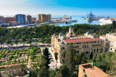 Malaga City panorama, City Hall  Ayuntamiento  gardens and Port of Malaga Stock Photo - 27558902
