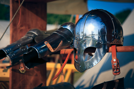 Viking knight helmet Stock Photo