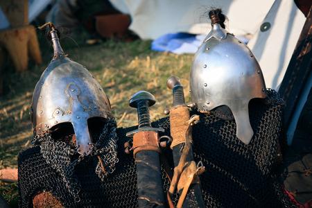 Medieval Knights helmets Stock Photo - 27606364
