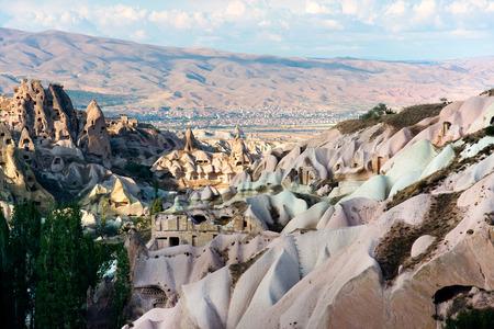 goreme: Turkey, Uchisar in Cappadocia  - volcanic landscape