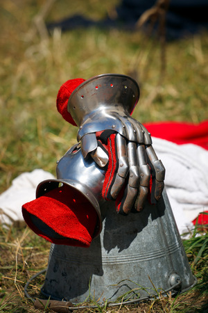 Iron red Knights Gloves Stock Photo