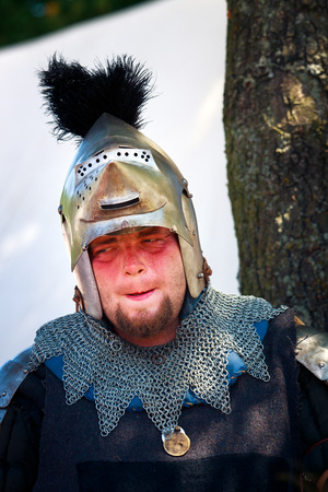 reenactor: Medieval Knight portrait, tired because of the heat - 600th anniversary of Battle of Grunwald 1410