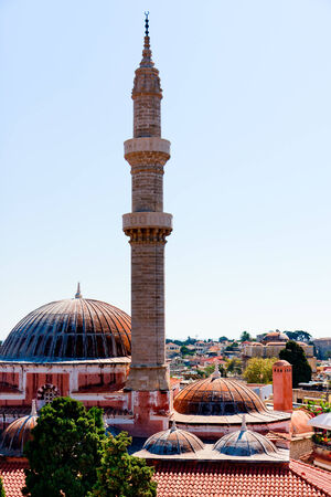 suleyman: Rhodes, minaret and domes of Sultan Suleiman the Magnificent mosque Stock Photo