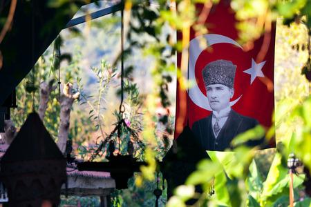 mustafa: Mustafa Kemal Ataturk on Turkish Flag Editorial
