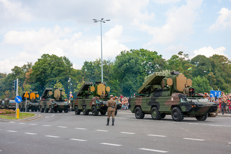 anti nato: Mobile air defense missile system 9K33 Osa, Gecko. WARSAW, POLAND - AUGUST 15, 2014